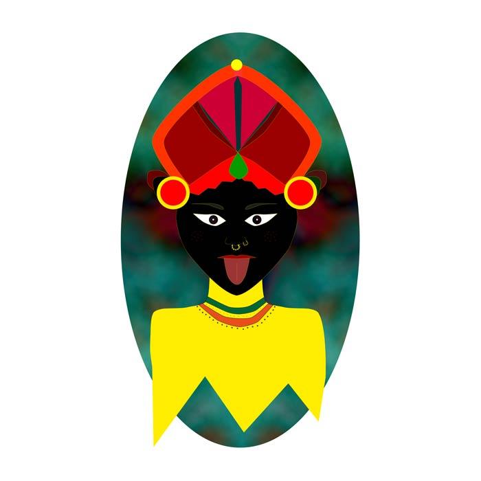 portrait indien illustration numérique-fond coloré