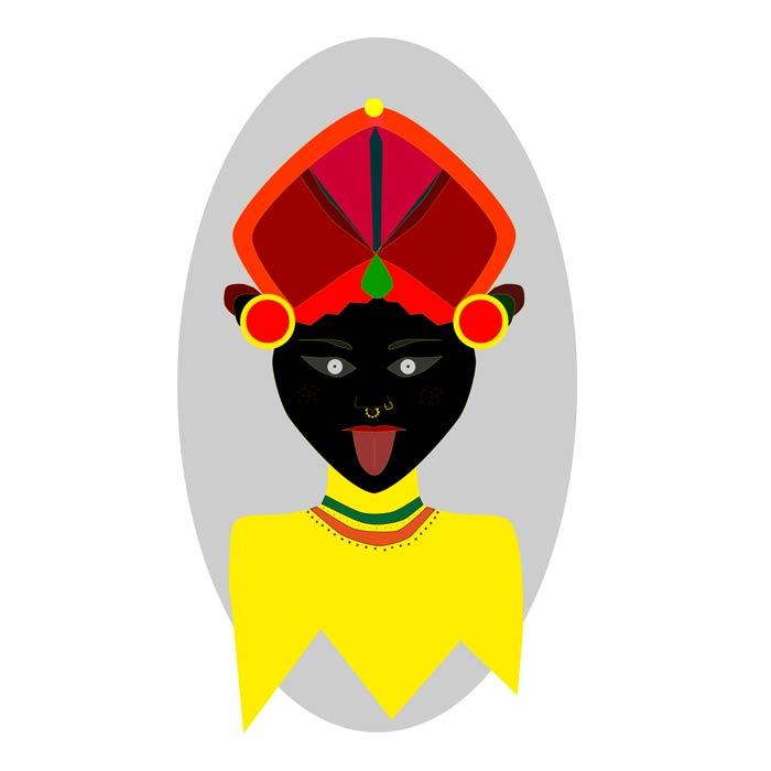 portrait indien illustration numérique-fond gris