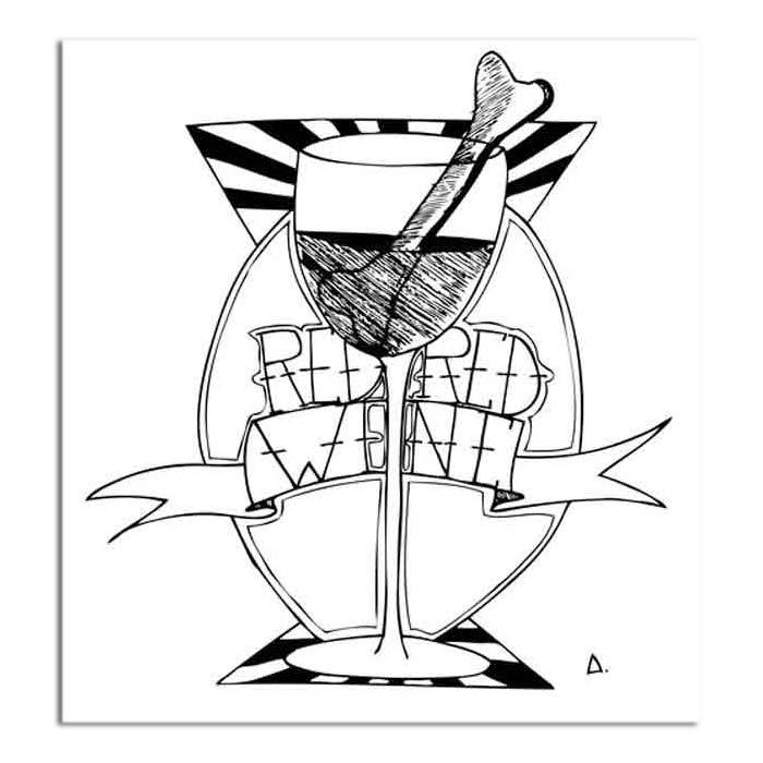 illustration noir et blanc-verre-os