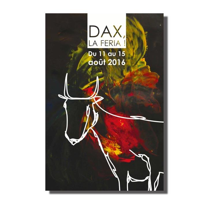 Proposition pour le concours d'affiches de la féria de Dax-fond au couteau à peinture-vachette dessinée en concours blanc