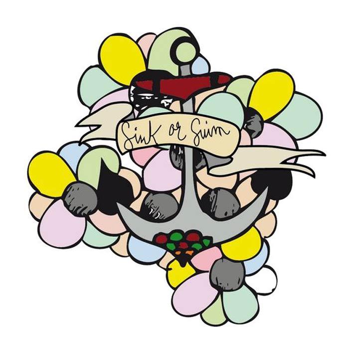 illustration colorée fleurs et ancre