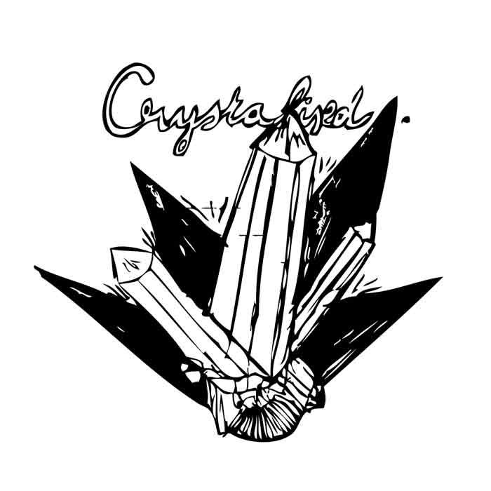 illustration noir et blanc crystaux