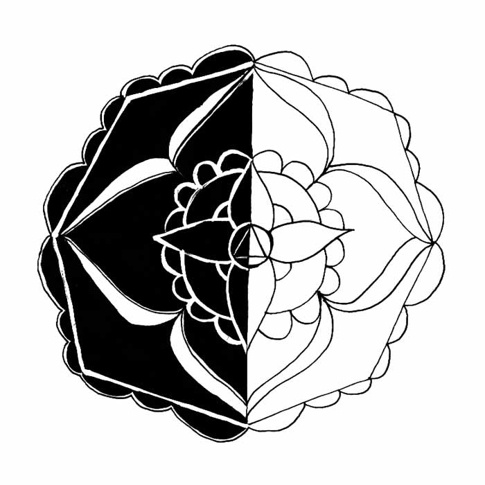illustration mandala fleur noir et blanc