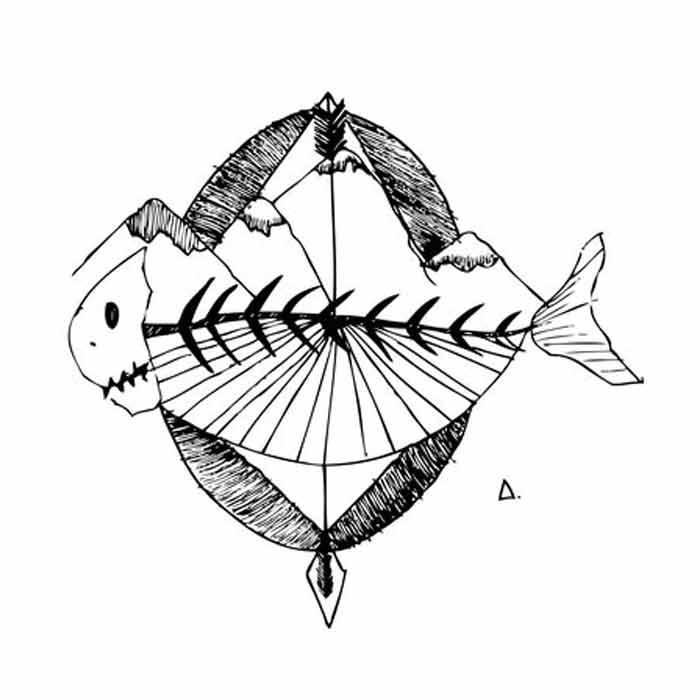 illustration noir et blanc - poisson montagne