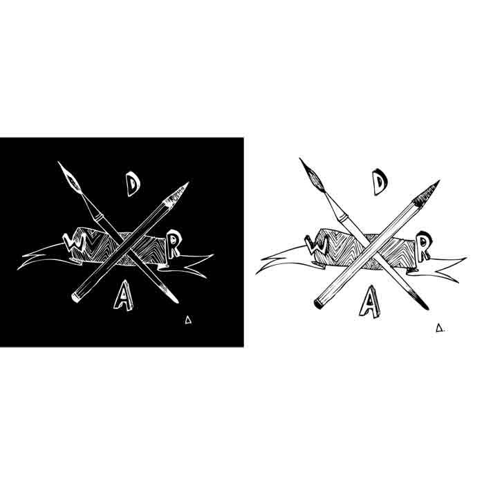illustration noir et blanc - crayon croisé pinceau