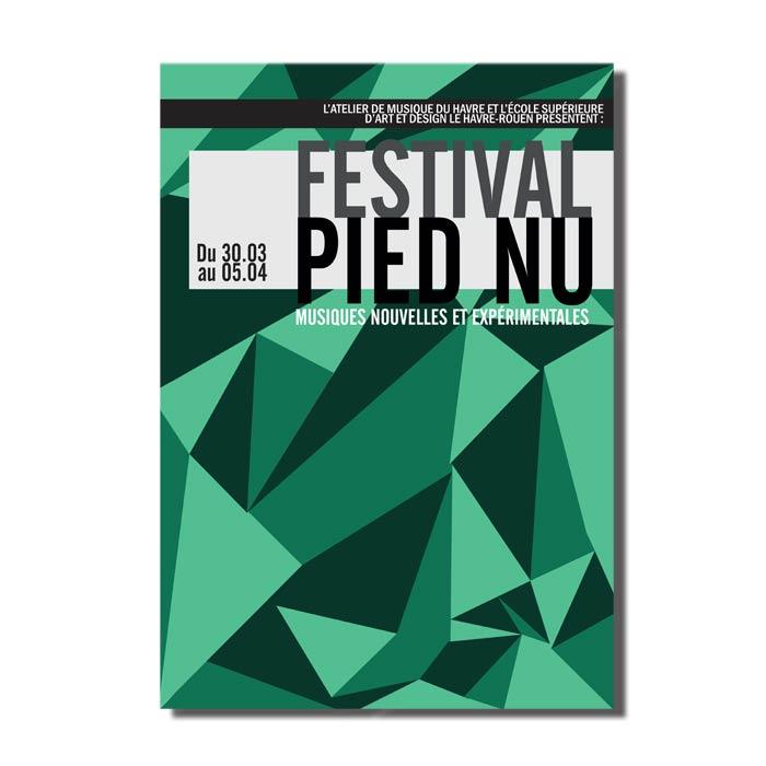 affiche formes gémotriques en nuance de vert-pour un festival de musiques expérimentales
