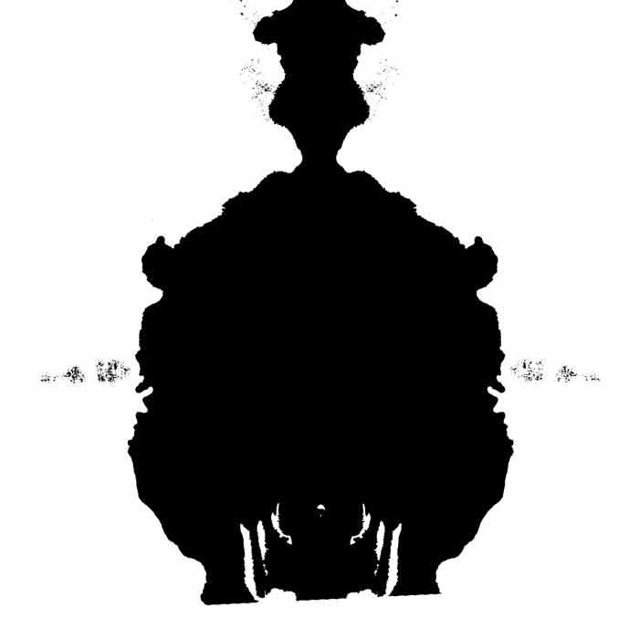 inspiration tests de Rorscharch-encre noire sur feuille pliée-symétrie