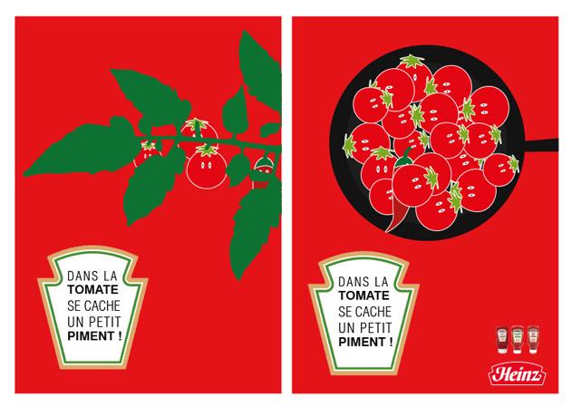 Affiche rouge avec des tomates, un piment se camoufle entre les tomates