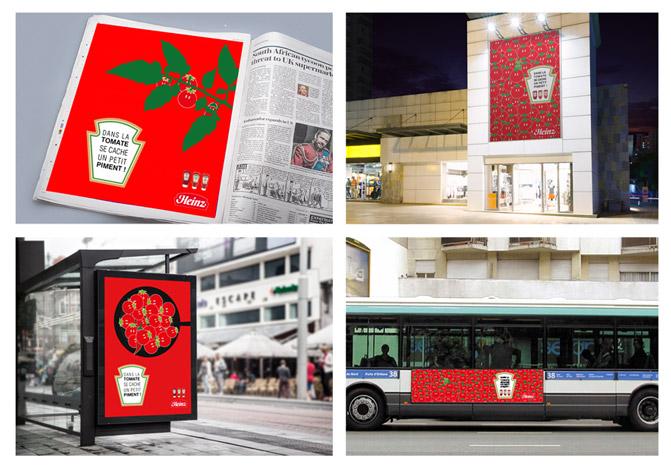 Mise en scène des affiches rouge avec des tomates, un piment se camoufle entre les tomates